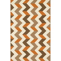Indoor/ Outdoor Hand-hooked Geometric Brown/ Orange Rug (5' x 7'6) - 5' x 7'6""