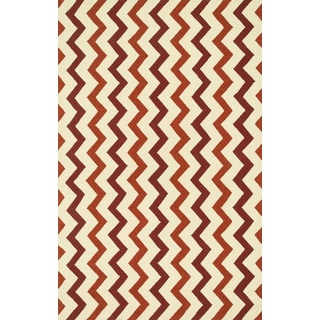 Indoor/ Outdoor Hand-hooked Geometric Red/ Rust Rug - 5' x 7'6""