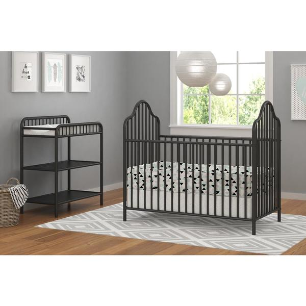 Little Seeds Rowan Valley Lanley Black Metal Crib And Changing Table Set    Free Shipping Today   Overstock.com   23297884