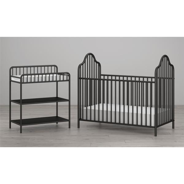 Little Seeds Rowan Valley Lanley Black Metal Crib And Changing Table Set