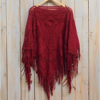 "Tickled Pink Fringed Vintage Lightweight Poncho - 26 x 60"", Wine"