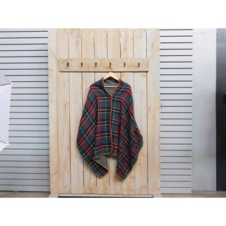 "Tickled Pink Plaid Lightweight Poncho with Button - 26 x 76"", Green"