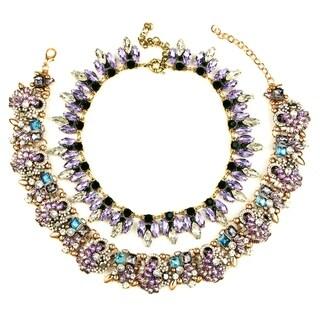 Eye Candy LA 12 inch Purple Stone Glam Statement Set
