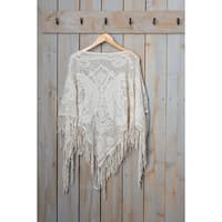 "Tickled Pink Fringed Vintage Lightweight Poncho - 26 x 60"", Ivory"