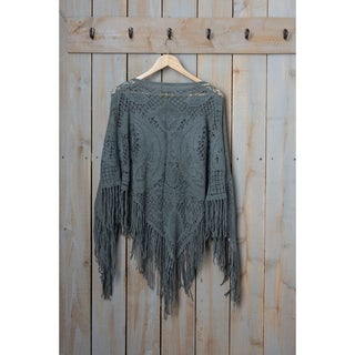 """Tickled Pink Fringed Vintage Lightweight Poncho - 26 x 60"""", Gray"""