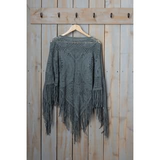 """Tickled Pink Fringed Vintage Lightweight Poncho - 26 x 60"""", Gray