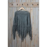 "Tickled Pink Fringed Vintage Lightweight Poncho - 26 x 60"", Gray"