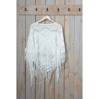 """Tickled Pink Fringed Vintage Lightweight Poncho - 26 x 60"""", White"""
