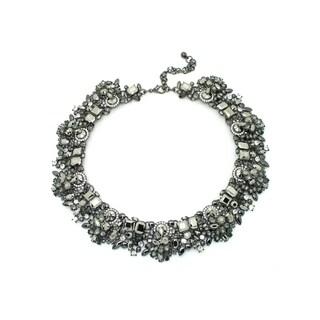 Eye Candy LA 10 inch Silver Metallic Rhinestone Wreath Necklace