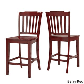 Eleanor Slat Back Wood 24 In Counter Chair Set Of 2 By Inspire