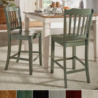 Eleanor Slat Back Wood 24 in. Counter Chair (Set of 2) by iNSPIRE Q Classic