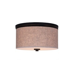 Woodbridge Lighting 15830MEB-S11501 Hudson Fabric Shade Flush Mount