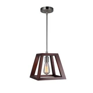 Woodbridge Lighting 17223STN-WLK1WN Walden Wood Mini-pendant