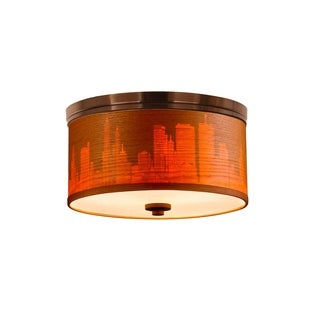 Woodbridge Lighting 15830STN-SV115A Hudson Veneer Shade Flush Mount