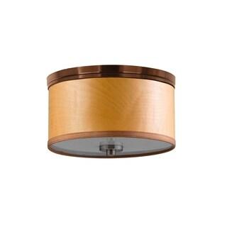 Woodbridge Lighting 15830STN-SV1150 Hudson Veneer Shade Flush Mount