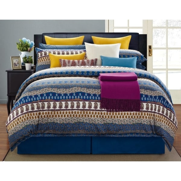Paisley 100-percent Cotton Printed 8pc Comforter Set