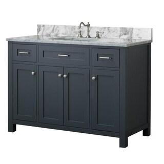 Home Elements VF48433 White Carrara Marble 48-Inch Grey Vanity