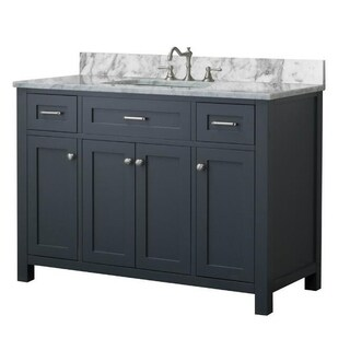Home Elements VF48433 White Carrara Marble 48-Inch Grey Vanity