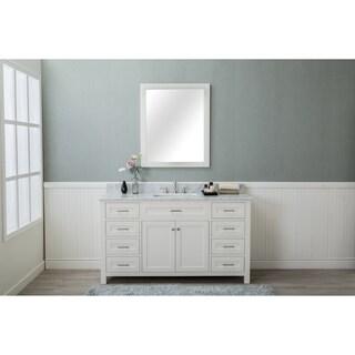 Home Elements VF60291 White Carrara Marble 60-Inch Cream White Vanity