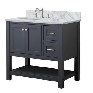Home Elements VL36221 White Carrara Marble 36-Inch Grey Vanity