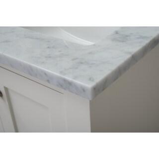 Home Elements VL24201 White Carrara Marble 24-Inch Cream White Vanity