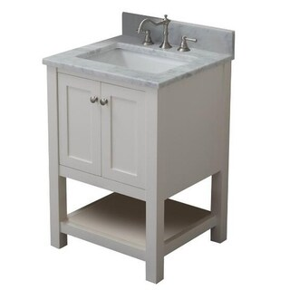 Home Elements VL24201 White Carrara Marble 24-Inch Cream White Vanity