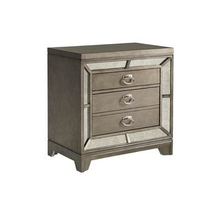 Highland Ave Grey Glam Nightstand with Mirrored Accents