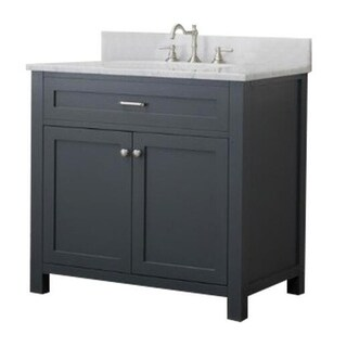 Home Elements VF36211 White Carrara Marble 36-Inch Grey Vanity