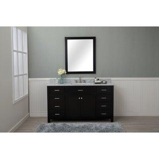 Home Elements VF60291 White Carrara Marble 60-Inch Espresso Vanity