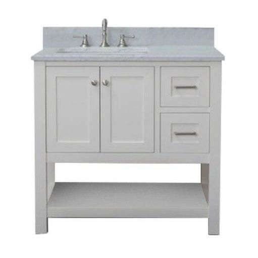 Home Elements Vl36221 White Carrara Marble 36 Inch Cream Vanity