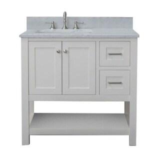 Home Elements VL36221 White Carrara Marble 36-Inch Cream White Vanity