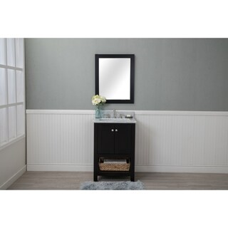 Home Elements VL24201 White Carrara Marble 24-Inch Espresso Vanity