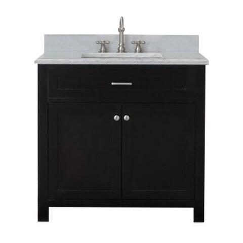 Home Elements VF36211 White Carrara Marble 36-Inch Espresso Vanity