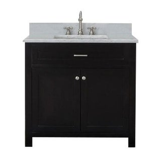 Home Elements VF36211 White Carrara Marble 36-Inch Espresso Vanity