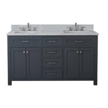 Home Elements VF60462 White Carrara Marble 60-Inch Grey Vanity