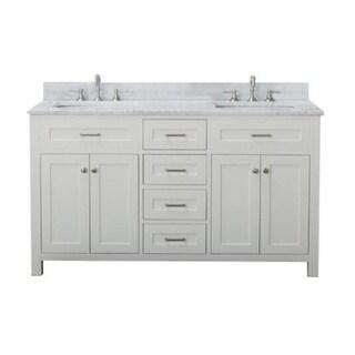Home Elements VF60462 White Carrara Marble 60-Inch Cream White Vanity