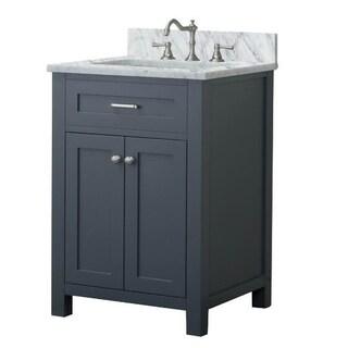 Home Elements VF24211 White Carrara Marble 24-Inch Gray Vanity