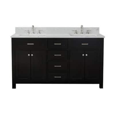 Home Elements VF60462 White Carrara Marble 60-Inch Espresso Vanity