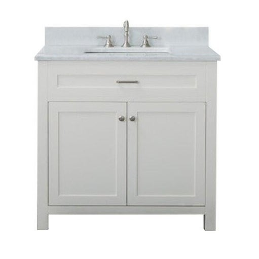 Home Elements VF36211 White Carrara Marble 36-Inch Cream White Vanity