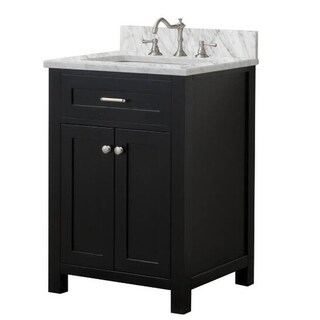 Home Elements VF24211 White Carrara Marble 24-Inch Espresso Vanity