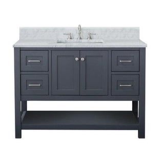 Home Elements VL48241 White Carrara Marble 48-Inch Grey Vanity
