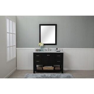 Home Elements VL48241 White Carrara Marble 48-Inch Espresso Vanity