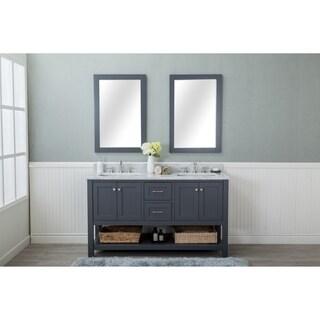 Home Elements VL60421 White Carrara Marble 60-Inch Grey Vanity