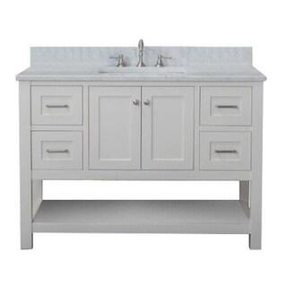 Home Elements VL48241 White Carrara Marble 48-Inch Cream White Vanity