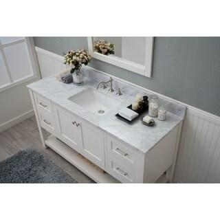 Home Elements VL60241 White Carrara Marble 60-Inch Cream White Vanity