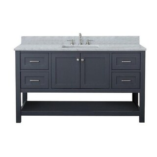 Home Elements VL60241 White Carrara Marble 60-Inch Grey Vanity