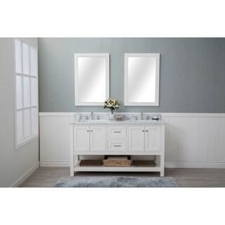 Home Elements VL60421 White Carrara Marble 60-Inch Cream White Vanity