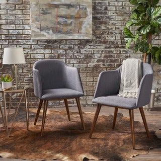 Rhys Mid-Century Fabric Dining Chair (Set of 2) by Christopher Knight Home