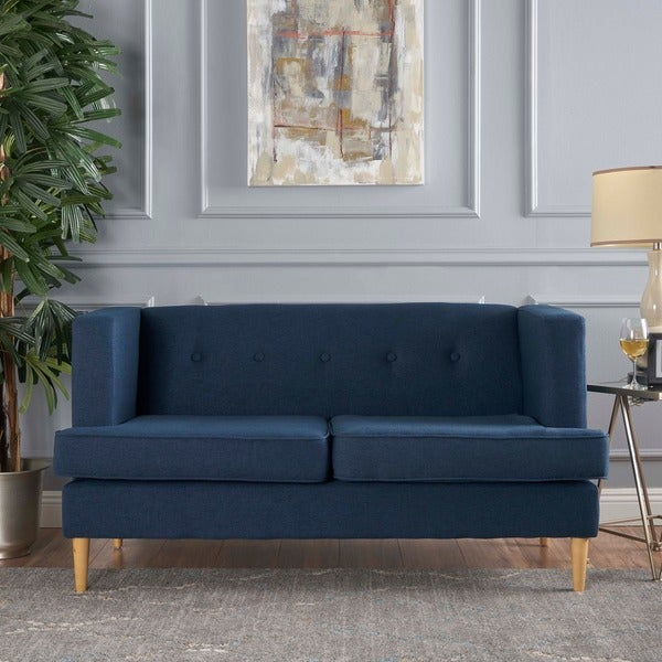 milton mid century modern fabric loveseat by christopher knight home free shipping today