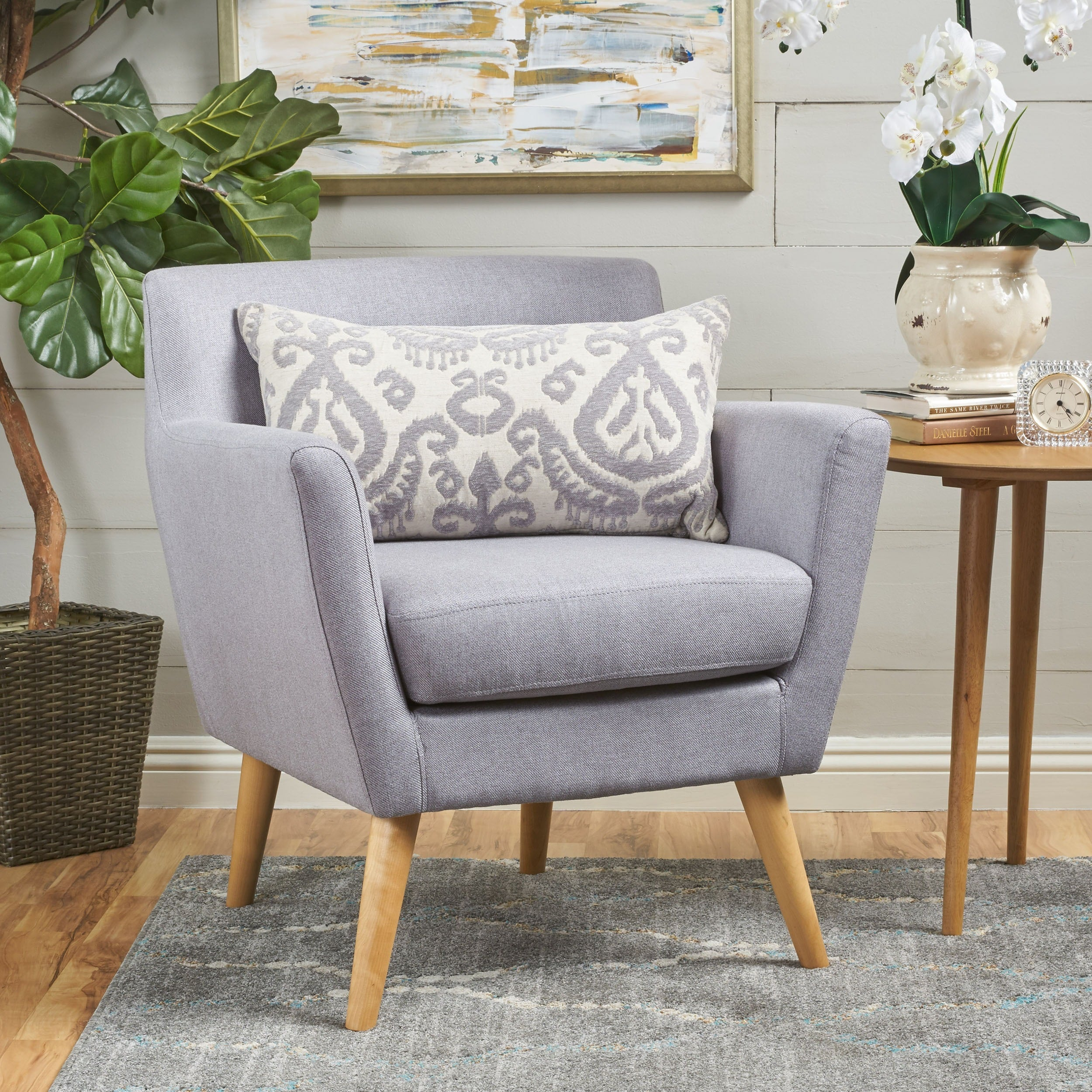 Meena Buttoned Mid Century Modern Fabric Club Chair